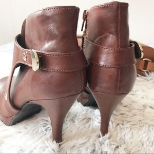 Unlisted by Kenneth Cole Shoes - Unlisted Brown Vegan Leather Keyhole Booties